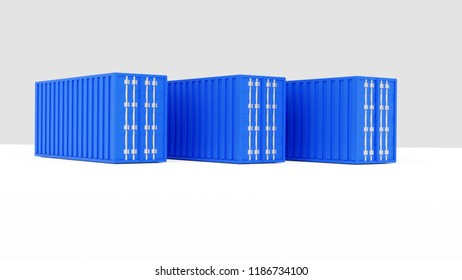 3d rendering of blue sea freight containers, isolated