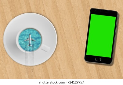 3D rendering, blue sea ocean on sunny day into coffee cup and tourism airplane fly on it on wood table near smartphone with chroma key green screen, abstract travel concept time of  holiday vacations