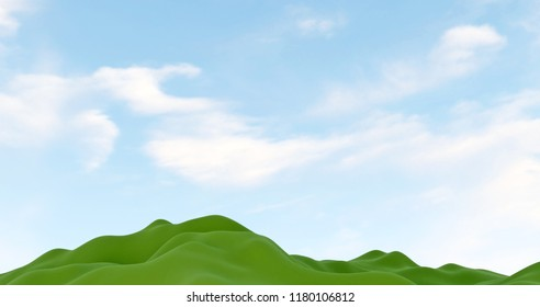 3D rendering of Blue sky with clouds over green hills