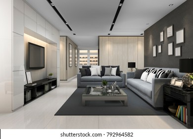 3d rendering blue sofa in modern grey living room with tv