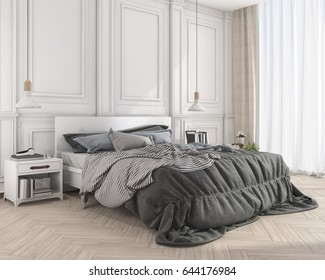 3d rendering blue soft classic bed in classic bedroom