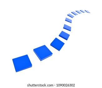 3d rendering of blue stepstones pending in space.