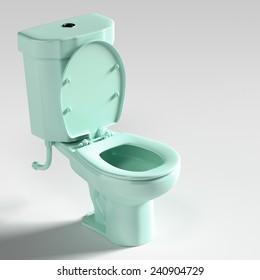 3d rendering of blue toilet.