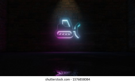 3D rendering of blue violet neon symbol of snowplow on dark brick wall background with wet blurred reflection