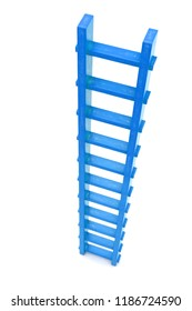 3D rendering of blue wooden ladder isolated. view from above