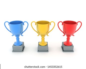3D Rendering of blue yellow and red trophies. 3D Rendering isolated on white.
