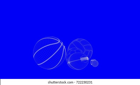 3d rendering of a blueprint balls in white lines on a blue background