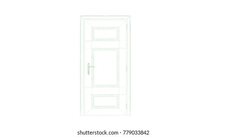 3d rendering of a blueprint hand drawn door isolated on white