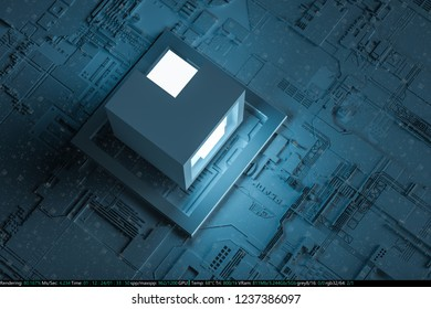 3D rendering, boards and chips