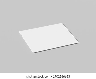3D rendering of a booklet with staples on a neutral grey background with a sharp shadow. Booklet is in landscape mode. Perfect for making realistic mockups for a presentation.