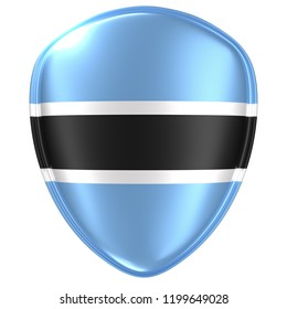 3d rendering of a Botswana flag icon on white background.