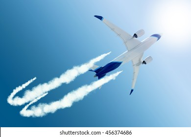 3d rendering - A bottom view of a white and blue airplane traveling in a sunny sky creating a white contrail