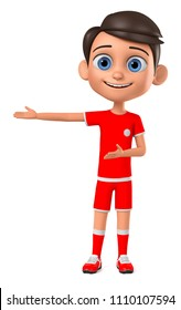 3d rendering. Boy footballer hand points to an empty space.