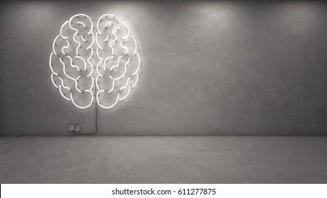 3d rendering of brain neon on concrete wall