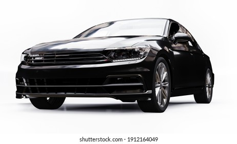 3d rendering of a brandless generic black car in a white studio environment