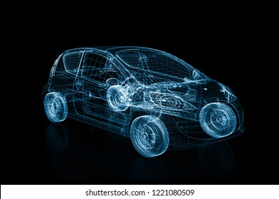 3d rendering of a brandless generic car blue wires on black background