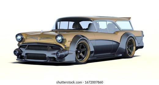 3D rendering of a brand-less generic car in studio environment
