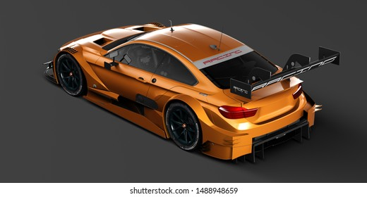 3D rendering of a brand-less generic concept racing car in studio environment