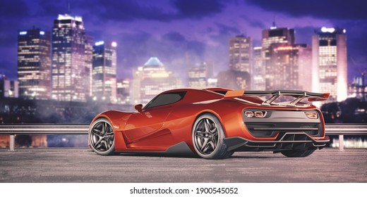 3D rendering of a brand-less generic concept car