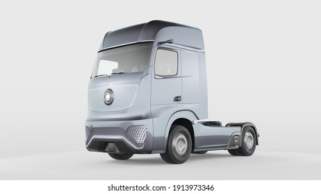 3D rendering of a brand-less generic concept truck. Electric autonomous truck