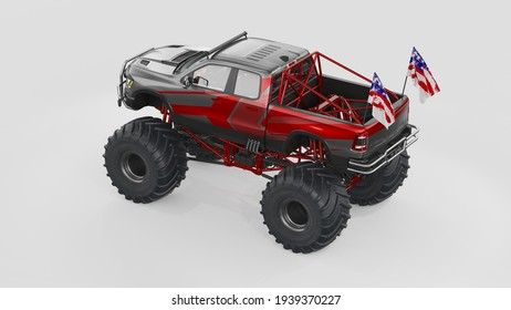 3D rendering of a brand-less generic monster truck