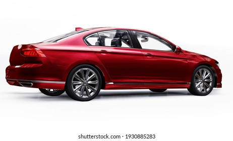 3d rendering of a brandless generic red car in a white studio environment