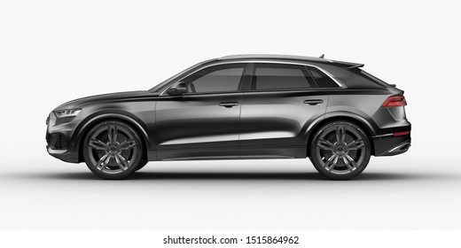 3D rendering of a brand-less generic SUV concept car in studio environment