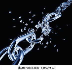 3D rendering of a breaking chain
