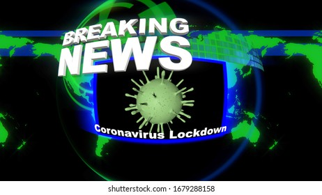 3D Rendering of a Breaking News Title Bulletin on the Coronavirus and country lockdowns