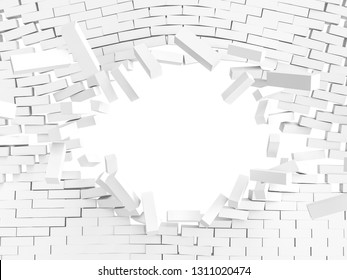 3d rendering of brick wall explosion