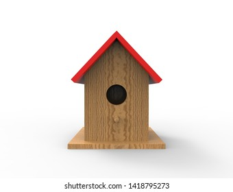 3d rendering of a brid house isolated in white studio background