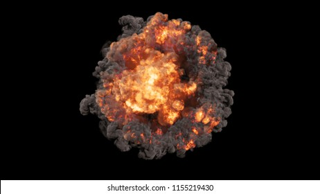 3D rendering of bright colorful explosions, shock waves and smoke clubs. Creative design element for bold and bright presentations