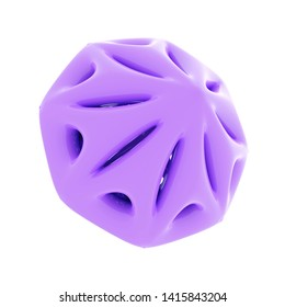 3d Rendering of bright Purple plastic object isolated on white