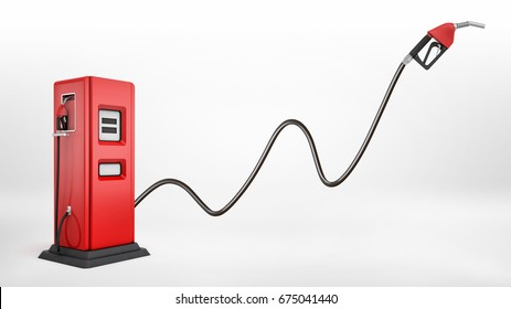 3d rendering of a bright red fuel pump in side view on white background with a large nozzle attached to it white pointing upwards. New market possibilities. Oil and gas industry. Cheapest refuel.