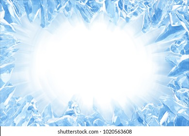 3D Rendering, Broken Blue crystal Ice Wall with Hole and Place For Your Text isolated on white background. Light ray effect, with clipping path.