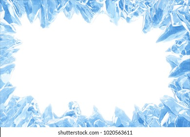 3D Rendering, Broken Blue crystal Ice Wall with Hole and Place For Your Text isolated on white background. With clipping path.