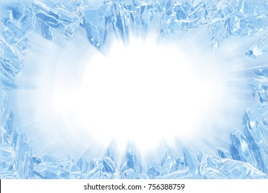 3D Rendering, Broken Blue crystal Ice Wall with Hole and Place For Your Text isolated on white background. With light ray effect