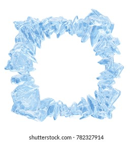 3D Rendering, Broken Blue crystal Ice Wall with Hole and Place For Your Text isolated on black background. Ring shape design