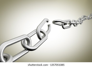 3D rendering of broken chains against a plain background