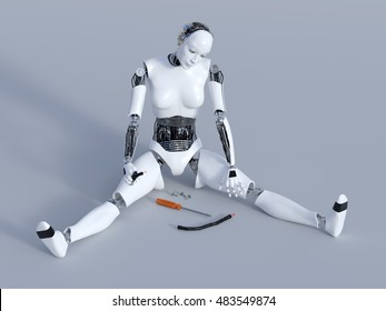 3D rendering of a broken female robot sitting on the floor with cables in her hand and screws and a screwdriver on the floor. Gray background.