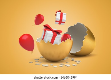 3d rendering of broken golden egg, and two giftboxes and thee balloons that just hatched out from egg and are flying around. Special offer. Holidays and celebrations. Perks and staff motivation.