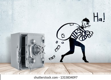 3d rendering of broken open safe vault on white wooden floor and cartoon robber with money bag and 'HA' sign on white wall background. Management and finance. Money risks. Bank robbery.