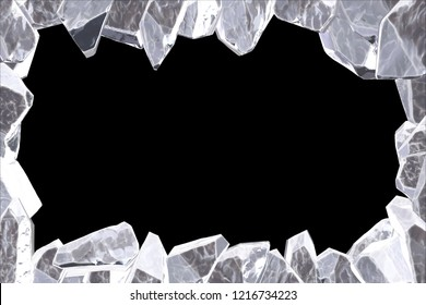 3D Rendering, Broken white crystal Ice Wall with Hole and Place For Your Text isolated on black background.