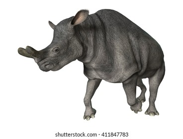 3D rendering of a Brontotherium running isolated on white background