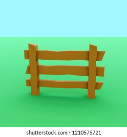 3d rendering of brown fence on meadow - low poly scene