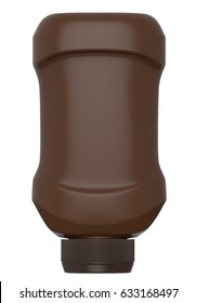 3D Rendering Brown Plastic Bottle with Lid of chocolate, mock-up
