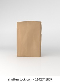 3d rendering of a  brown sack of cement on background