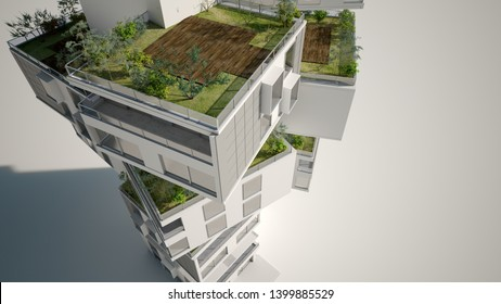 3D rendering of a building formed by habitation blocks with gardens and orchards in the roof and solar panels
