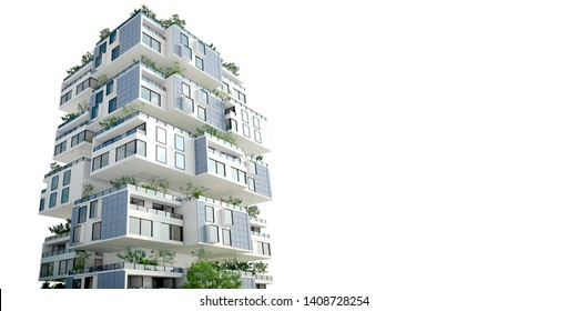 3D rendering of a building formed by habitation blocks with roof gardens and solar panels