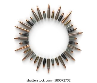 3d rendering of bullets laid out in circle.